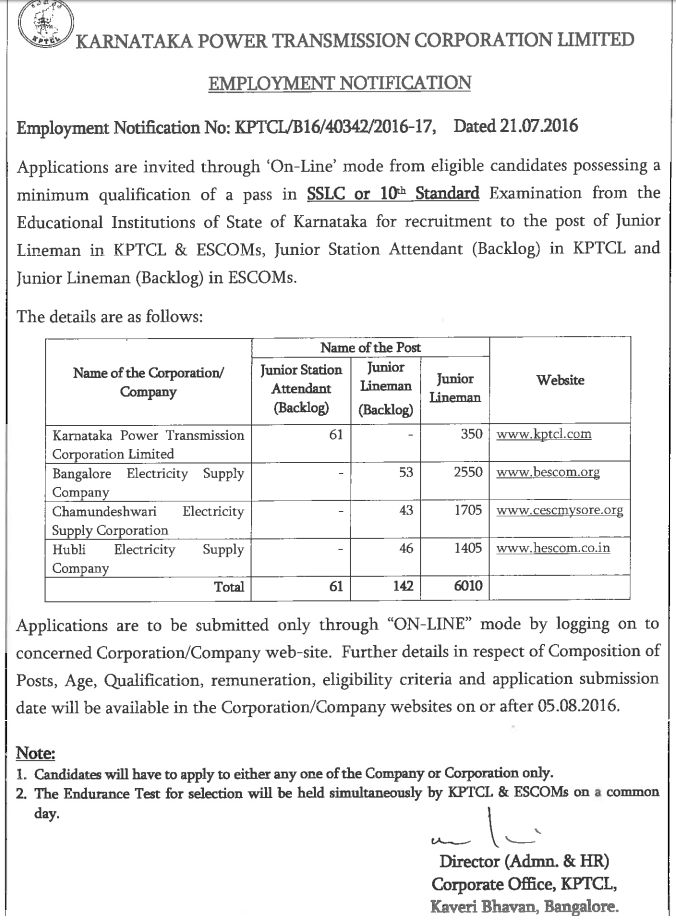 KPTCL Recruitment 2016-17 Job Notification