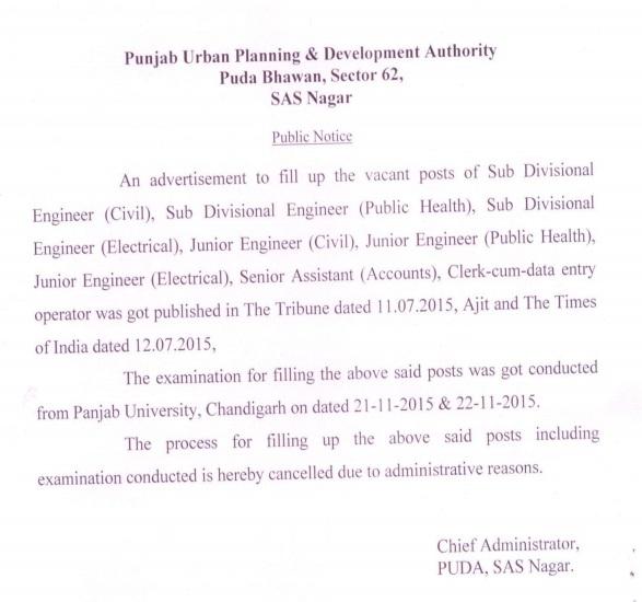 Notice Regarding Cancellation of PUDA Recruitment 2015