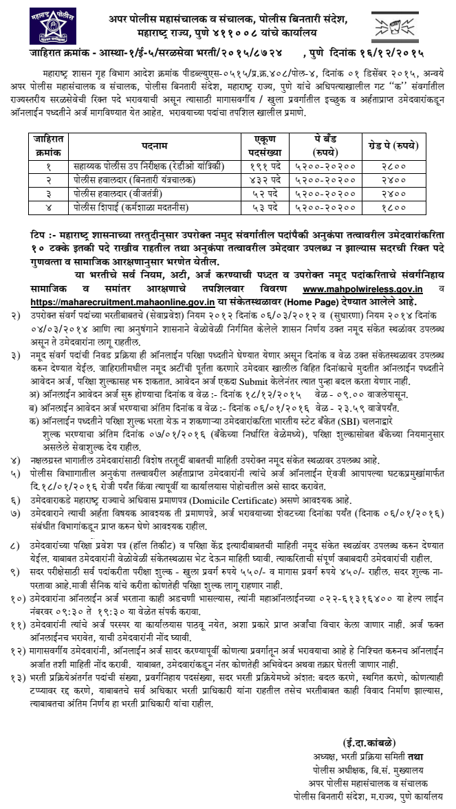 Mahpolwireless ASI, Hawaldar, Constable, Sepoy Recruitment 2016 Advertisement
