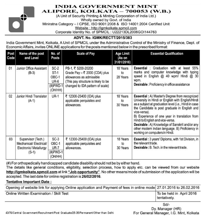 India Government Mint Kolkata Recruitment 2016 Advertisement