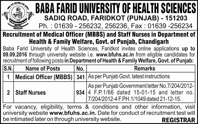 Punjab Health and Family Welfare Department Recruitment 2016 Advertisement
