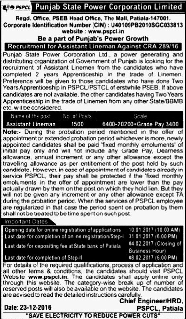 PSPCL Assistant Lineman Recruitment 2017 Advertisement